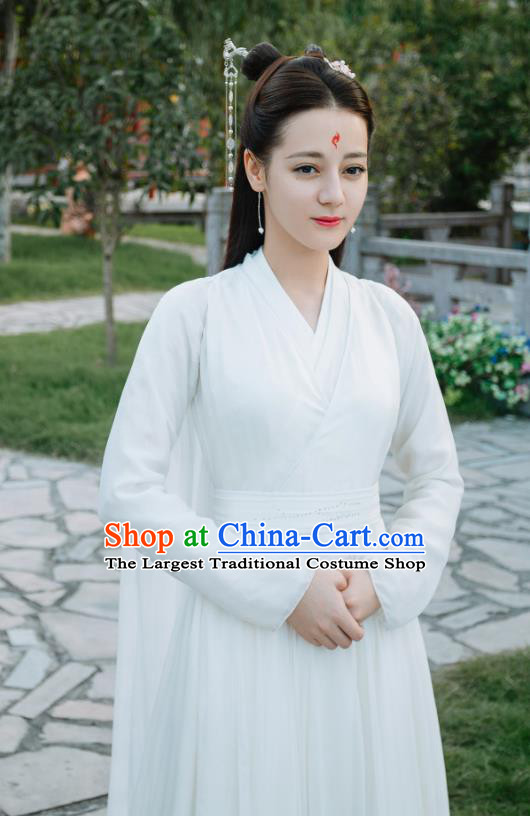 Chinese Ancient Fox Princess Bai Fengjiu White Dress Drama Sansheng Sanshi Pillow Eternal Love of Dream Costume and Headpiece Complete Set