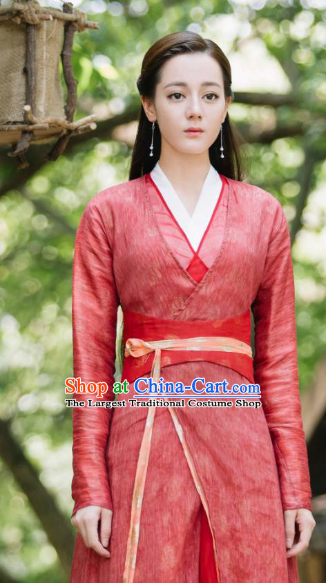 Chinese Ancient Fox Princess Bai Fengjiu Red Dress Drama Sansheng Sanshi Pillow Eternal Love of Dream Costume and Headpiece Complete Set