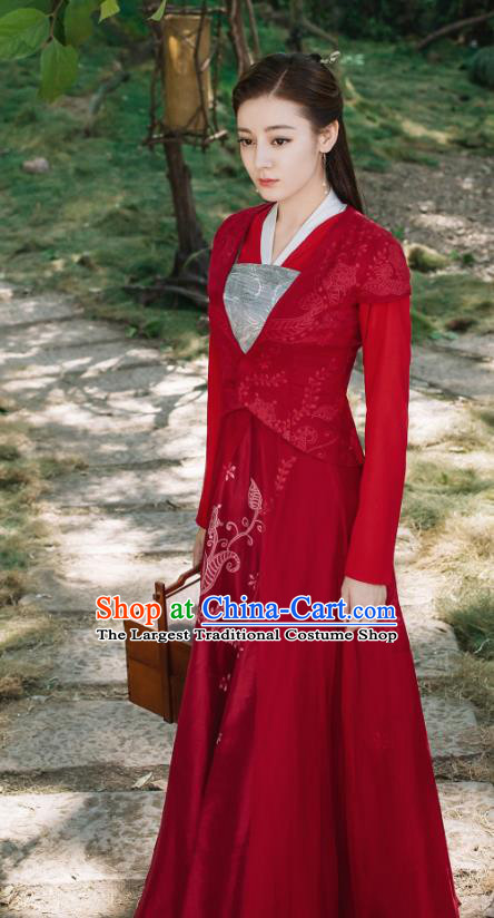 Chinese Ancient Goddess Princess Bai Fengjiu Red Dress Drama Sansheng Sanshi Pillow Eternal Love of Dream Costume and Headpiece Complete Set