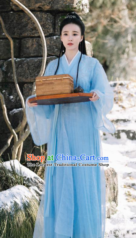 Chinese Ancient Demon Princess Ji Heng Blue Dress Drama Sansheng Sanshi Pillow Eternal Love of Dream Costume and Headpiece Complete Set