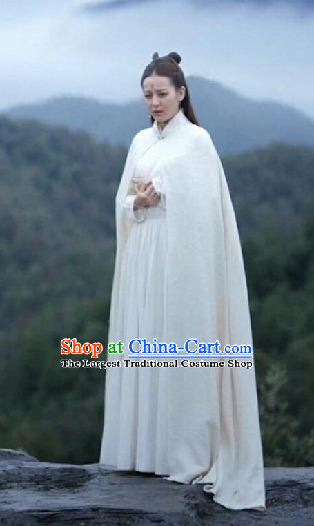 Chinese Ancient Imperial Consort Dress Drama Sansheng Sanshi Pillow Eternal Love of Dream Bai Fengjiu Costume and Headpiece Complete Set