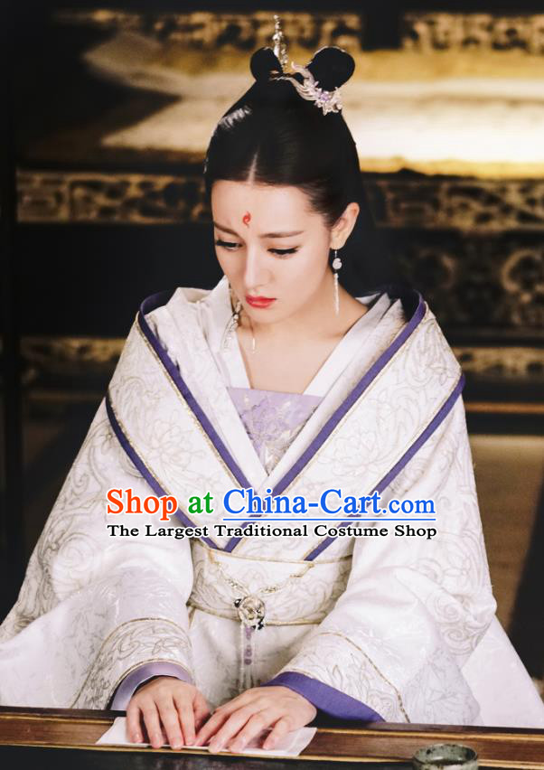 Chinese Ancient God Clan Princess Bai Fengjiu Drama Sansheng Sanshi Pillow Eternal Love of Dream Costume and Headpiece Complete Set