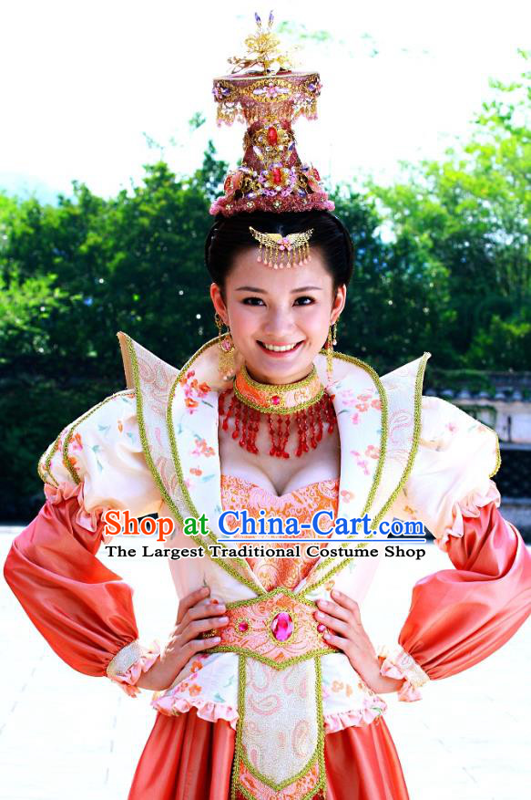 Chinese Ancient Costume Historical Drama Love Amongst War Princess Dai Zhan Dress and Headpiece Complete Set