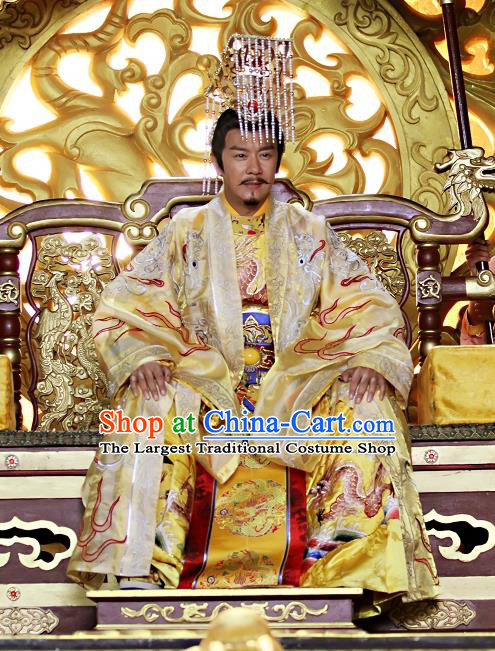 Chinese Ancient King Clothing and Hat Drama Love Amongst War Monarch Xue Pinggui Costumes