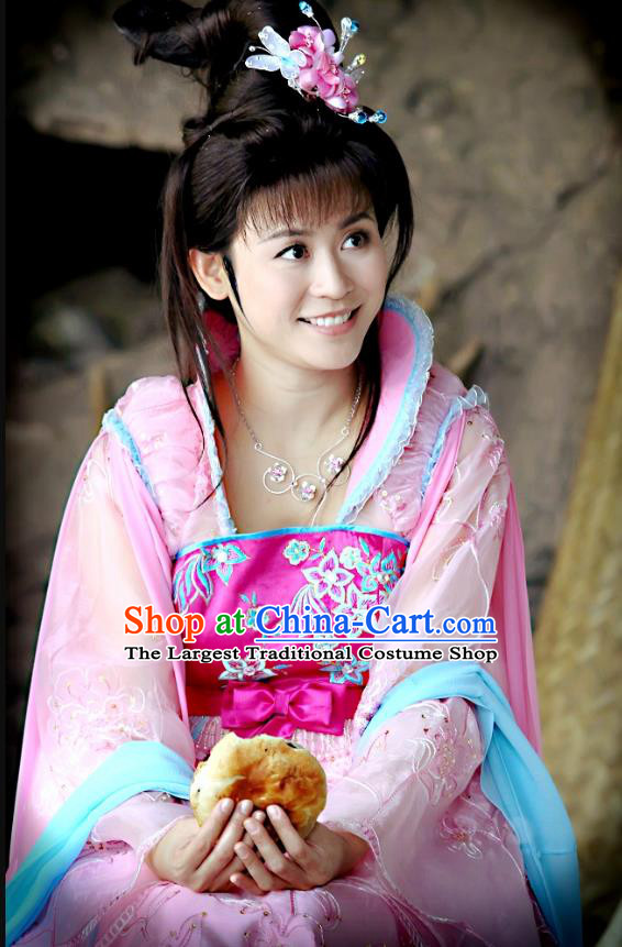 Chinese Ancient Noble Lady Costumes Historical Drama Love Amongst War Wang Baochuan Pink Dress and Hairpins