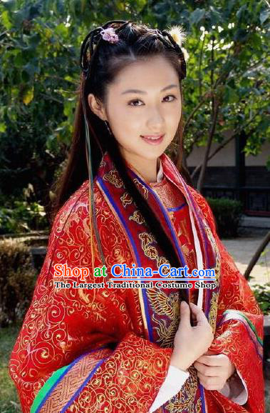 Chinese Ancient Princess Wedding Costumes Historical Drama Love Amongst War Xue Qi Red Dress and Hairpins