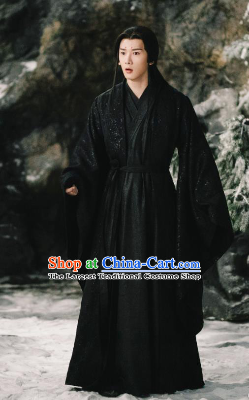 Chinese Ancient Demon Clan Lord Yan Chiwu Drama Sansheng Sanshi Pillow Eternal Love of Dream Black Costumes and Headdress for Men