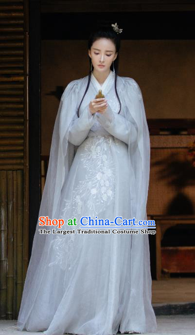 Chinese Ancient Demon Princess Ji Heng Drama Sansheng Sanshi Pillow Eternal Love of Dream Grey Dress and Hairpins Complete Set