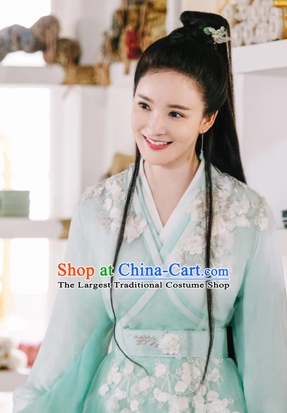 Chinese Ancient Demon Princess Drama Sansheng Sanshi Pillow Eternal Love of Dream Ji Heng Green Dress and Hairpin Complete Set