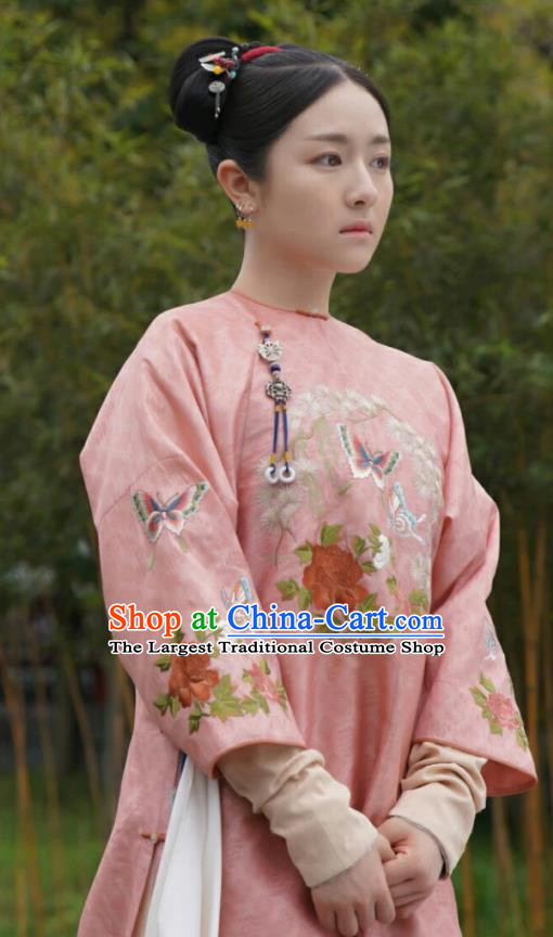 Chinese Ancient Garment Manchu Lady Pink Qipao Dress and Headwear Drama Dreaming Back to the Qing Dynasty Court Maid Ming Wei Apparels Costumes