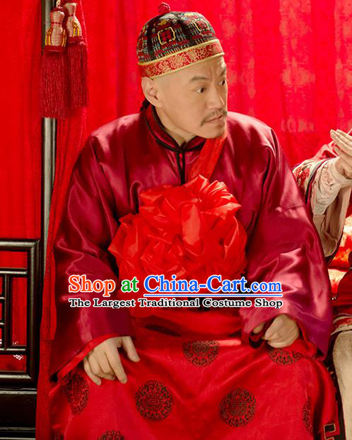 Chinese Ancient Apparels Wedding Garment and Hat Wuxia Drama Happy Mitan Liang Wuchi Costumes
