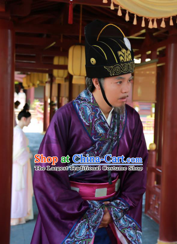 Chinese Ancient Minister Apparels Garment and Hat Wuxia Drama The King of Blaze Purple Official Costumes