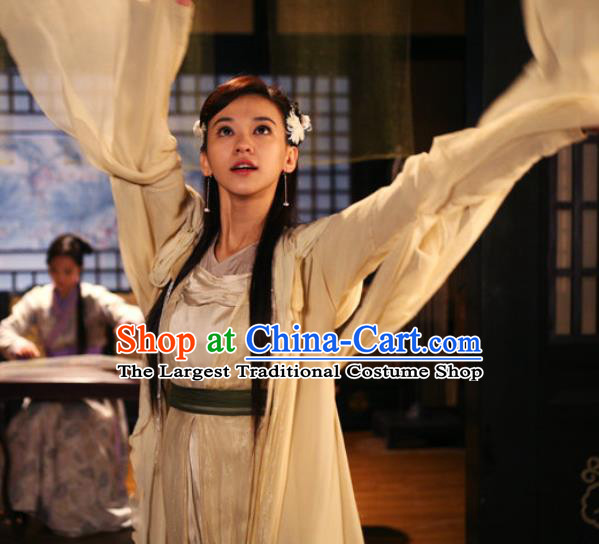 Chinese Ancient Apparels Hanfu Dress and Headwear Drama Butterfly Sword Female Swordsman Sun Xiaodie Garment Costumes