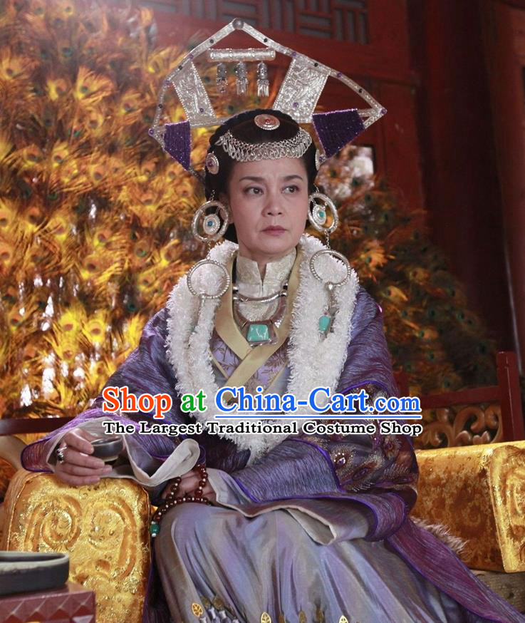 Chinese Ancient Queen Apparels and Headdress Drama Turbulence of the Mu Clan Empress Costumes Garment