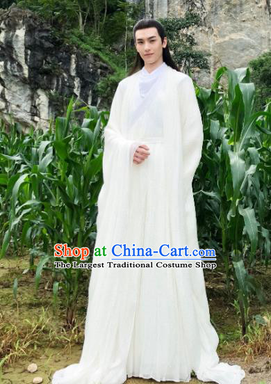 Chinese Ancient Fox King White Garment Drama Sansheng Sanshi Pillow Eternal Love of Dream Bai Zhen Costumes