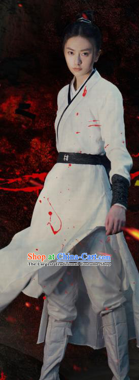 Chinese Ancient Female Swordsman White Garment Drama Sansheng Sanshi Pillow Eternal Love of Dream Demon Clan Min Su Costumes