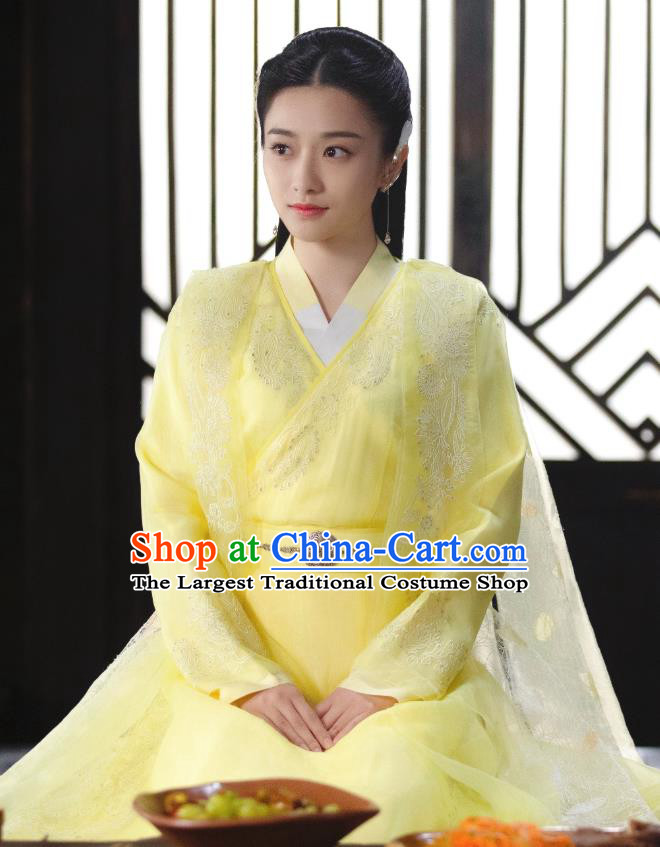 Chinese Ancient Princess of Biyi Bird Tribe Garment Drama Sansheng Sanshi Pillow Eternal Love of Dream Xiangli Ju Nuo Yellow Dress and Headpieces
