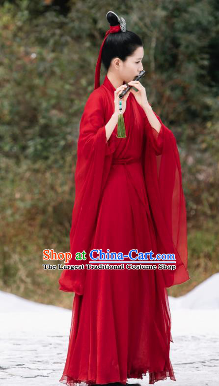 Drama Sansheng Sanshi Pillow Chinese Ancient Infanta of Biyi Bird Tribe Garment Eternal Love of Dream Jie Lu Red Dress and Headpieces
