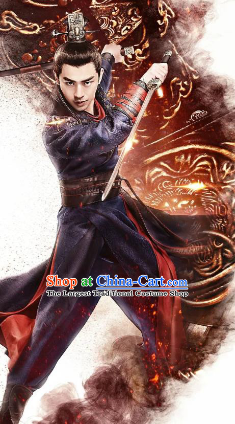 Chinese Ancient Knight Zhong Tian Apparels Garment and Hairdo Crown Wuxia Drama The King of Blaze Swordsman Lord Costumes