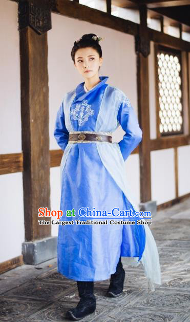 Chinese Wuxia Drama Ancient Swordswoman Blue Garment The King of Blaze Apparels Female Knight Pei Luoqing Beige Costumes and Hair Accessories