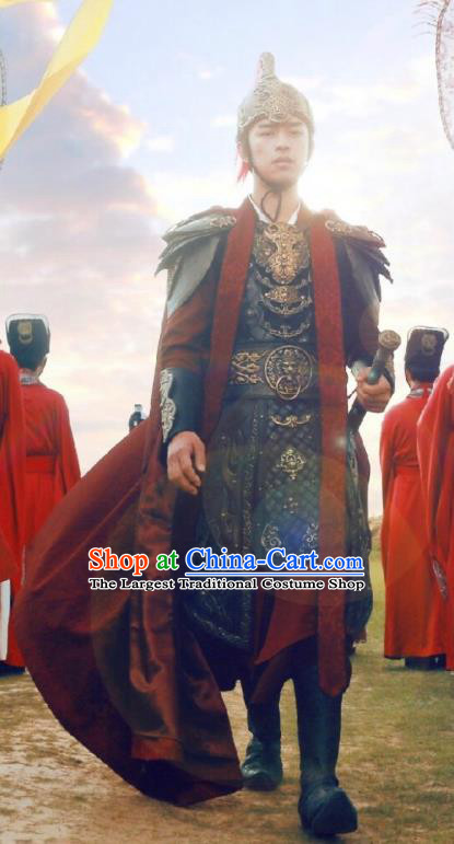 Chinese Ancient Swordsman Hao Yue Apparels Garment and Helmet Wuxia Drama The King of Blaze General Armor Costumes