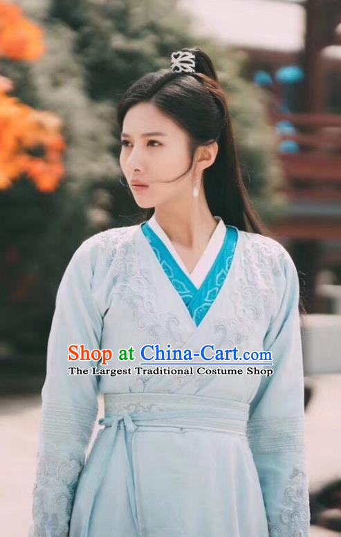 Chinese Ancient Swordswoman Apparels Garment and Hair Accessories Wuxia Drama The Lost Swordship Sun Min Dress Costumes