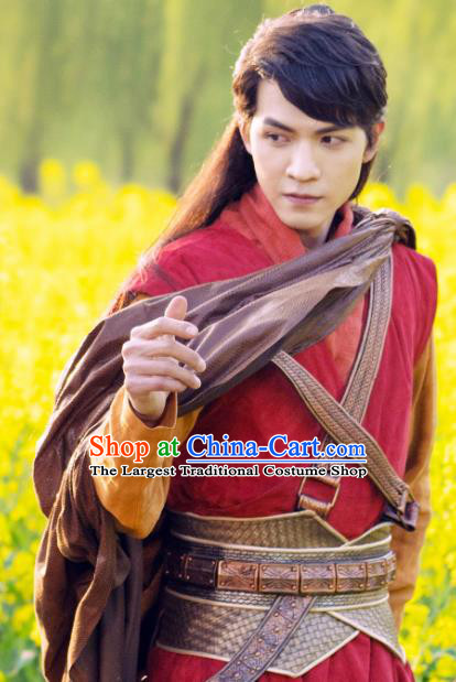 Chinese Ancient Young Knight Red Apparels and Headwear Wuxia Drama The Lost Swordship Swordsman Yi Feng Garment Costumes