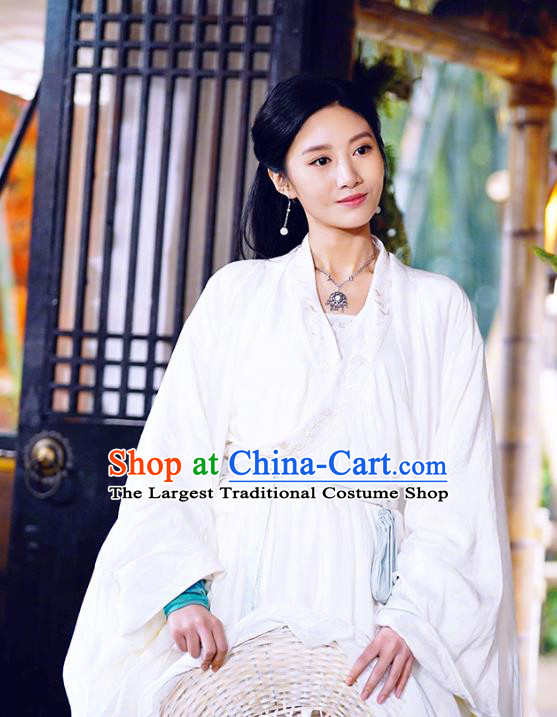 Chinese Ancient White Apparels Garment Costumes and Headwear Wuxia Drama The Lost Swordship Swordswoman Sun Min Dress