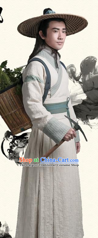 Chinese Ancient Swordsman Apparels Costumes and Bamboo Hat Wuxia Drama The Lost Swordship Knight Zhong Jing Garment