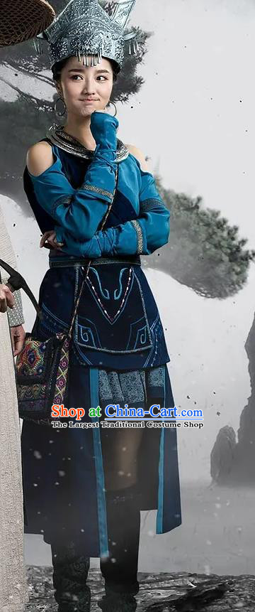 Chinese Ancient Ethnic Female Apparels Garment Blue Costumes and Silver Headdress Wuxia Drama The Lost Swordship Tang Chun Dress