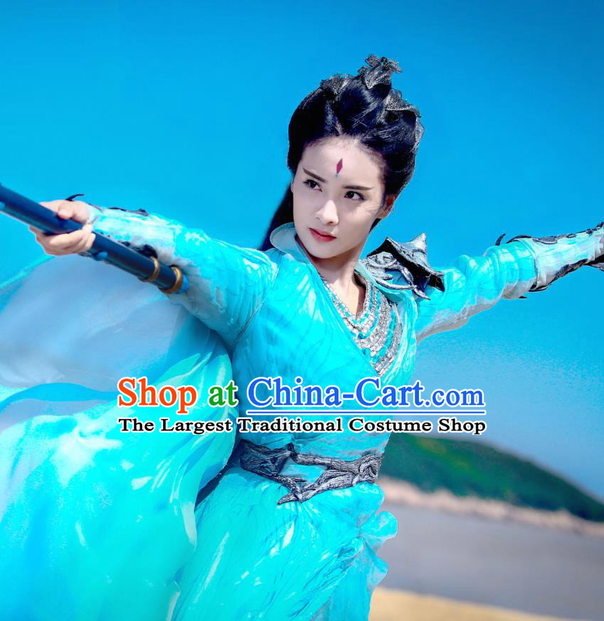 Chinese Wuxia Drama Ancient Princess Blue Garment and Hair Accessories The King of Blaze Apparels Female Swordsman Li Ying Apparels Costumes
