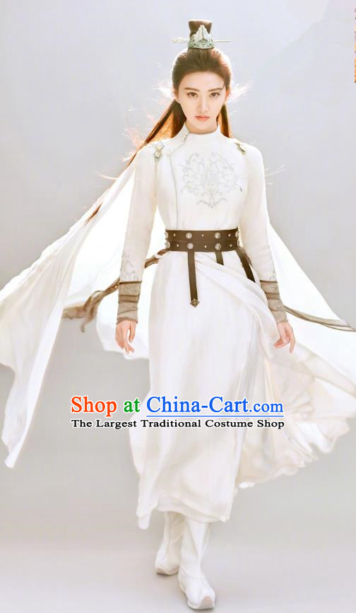 Chinese Ancient Swordswoman Apparels Garment and Hairdo Crown Wuxia Drama The King of Blaze Apparels Qian Mei White Dress Costumes