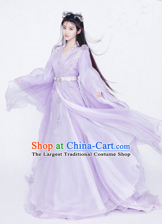 Chinese Ancient Fairy Apparels Garment and Hair Accessories Wuxia Drama The King of Blaze Apparels Qian Mei Purple Dress Costumes