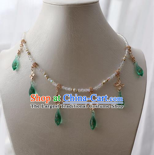 Chinese Ancient Princess Green Crystal Necklace Women Accessories Tassel Necklet Jewelry