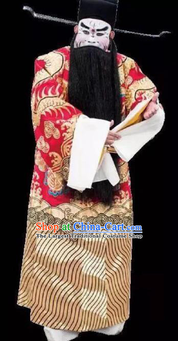 Chinese Peking Opera Apparel Old Men Costumes The Huarong Path Chancellor Cao Cao Garment and Headwear