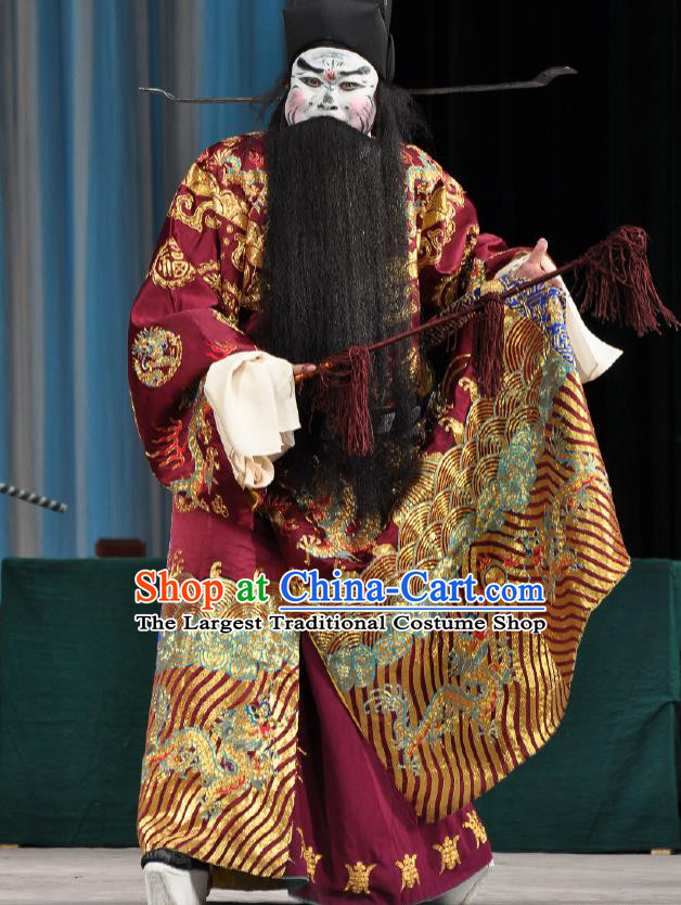 Chinese Peking Opera Laosheng Old Men Costumes The Huarong Path Cao Cao Apparel Garment and Hat