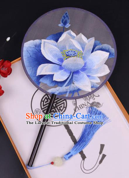 Chinese Traditional Embroidered Lotus Palace Fans Handmade Classical Dance Ebony Round Fan for Women
