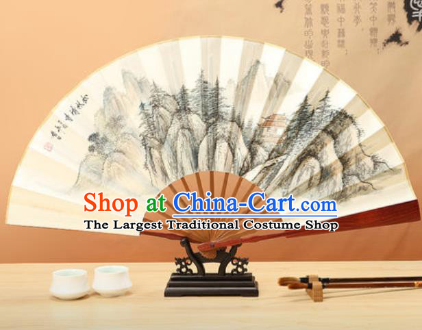 Chinese Traditional Ink Painting Pinewood Temple Paper Folding Fans Handmade Accordion Classical Dance Folding Fan