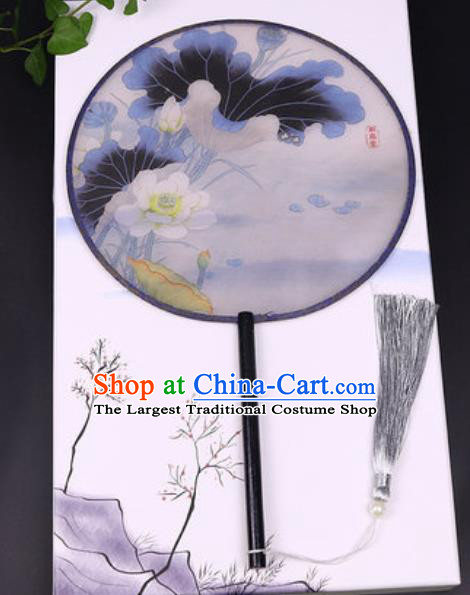 Chinese Traditional Printing Lotus Round Fans Handmade Classical Dance Ebony Palace Fan for Women