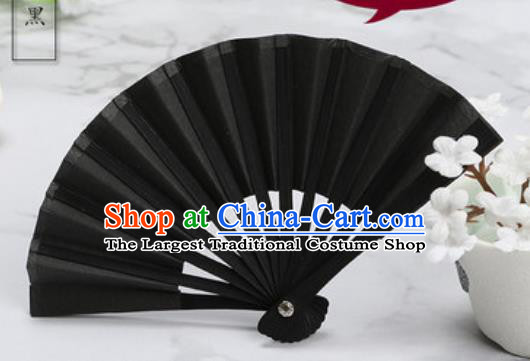 Chinese Traditional Little Black Paper Fans Handmade Accordion Classical Dance Folding Fan