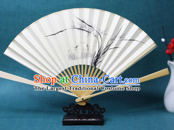 Handmade Chinese Ink Painting Orchids Paper Fan Traditional Classical Dance Accordion Fans Folding Fan