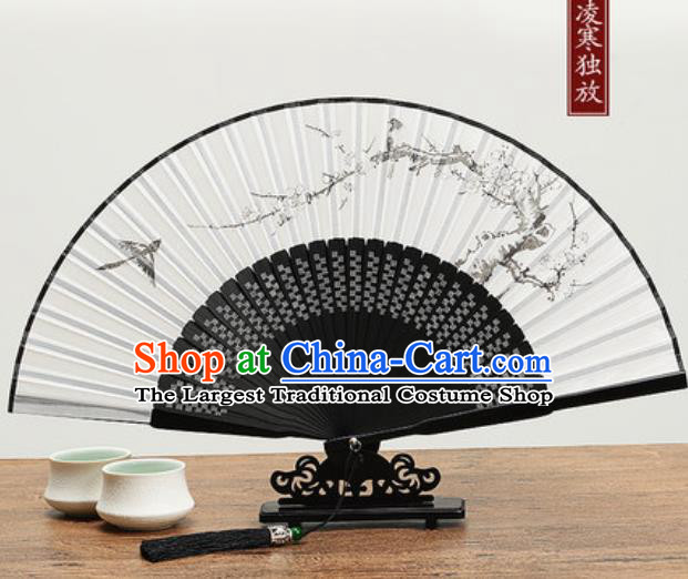 Chinese Traditional Ink Painting Plum Blossom Fan Handmade Accordion Classical Dance Fans Folding Fan