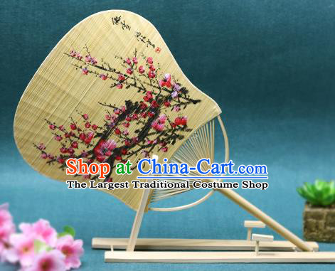 Handmade Chinese Ink Painting Plum Fans Traditional Classical Dance Bamboo Palace Fan for Women