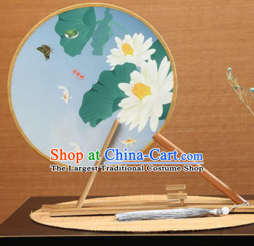 Handmade Chinese Printing Lotus Blue Round Fans Traditional Classical Dance Red Beech Palace Fan for Women