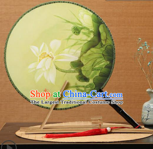 Handmade Chinese Printing Lotus Yellow Palace Fans Traditional Classical Dance Round Fan for Women