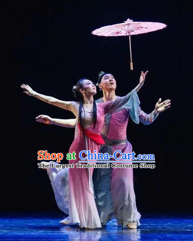 Chinese Traditional Dance San Yuan Lilac Dress Classical Dance Stage Performance Costume for Women
