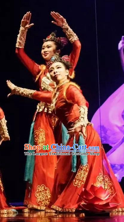 Chinese Yuan Qi Dunhuang Ethnic Dance Red Dress Traditional Classical Dance Stage Performance Costume for Women