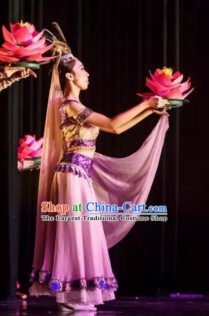 Chinese Yuan Qi Dunhuang Fairy Dance Lilac Dress Traditional Classical Dance Stage Performance Costume for Women