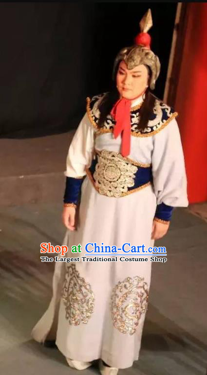 Chinese Yue Opera Wusheng Baihua River Apparels Costumes and Headwear Shaoxing Opera Martial Male General Garment