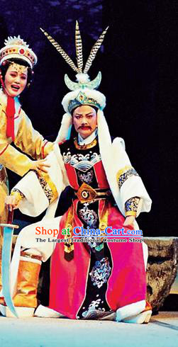 Chinese Yue Opera Royal Highness Garment and Headwear Shaoxing Opera Cai Wenji King Apparels Costumes